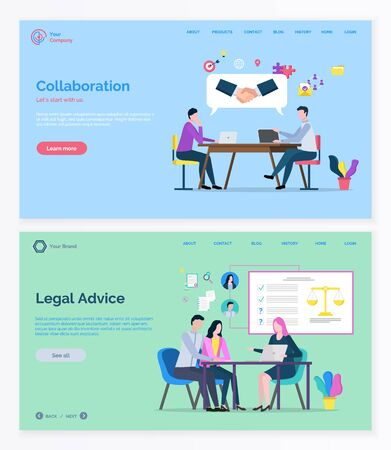 Teamwork collaboration and legal advice, man and woman consulting. Business success and lawyer service online, professional workers, company. Website and app slider template, landing page flat style