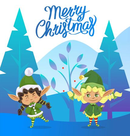 Merry christmas vector, girl elves personages. Santa claus helpers, kids wearing traditional costumes with hats. Forest with pine trees and winter foliage. Dwarfs in woods. Vector in flat style
