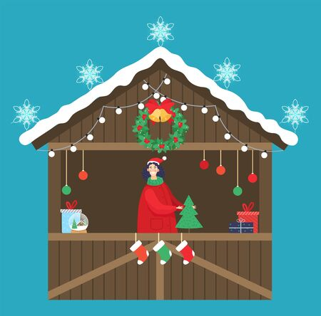 Christmas market kiosk with souvenirs. Seller selling presents and decorative items. Gifts and pine trees, socks. Stall decorated with garlands bulbs, snowflakes wreath and snowy rooftop, vector
