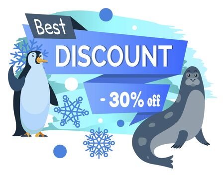 Winter sale with best discounts in shops. Up to 30 percent off price. Emperor penguin and sea calf, cartoon characters. Promotion with designed caption and animals. Vector illustration in flat style