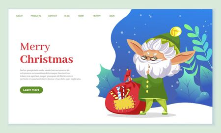 Merry christmas celebration of winter holidays. Old elf with beard and green hat with bag full of sweets and foliage. Xmas character in woods. Website or webpage template, landing page flat style