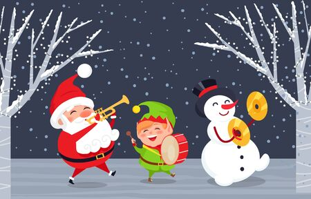 Xmas characters with musical instruments singing songs. Caroling of Santa Claus, elf and snowman. Trumpet and drums accompaniment. Winter landscape and snowy weather. Christmas time, vector in flat