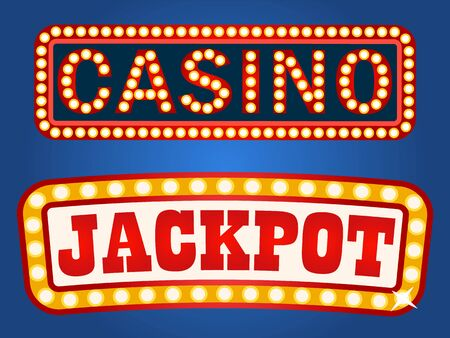 Vintage style of signboards with electric bulbs vector, isolated casino and jackpot inscription. Signs attracting attention, glowing and shining banners Vektoros illusztráció