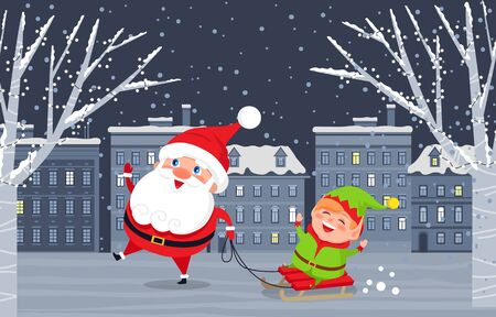 Santa Claus and elf on sleigh walking in evening city. Christmas holiday postcard with funny winter characters standing near snowy tree and house. Xmas card decorated by snowflakes and kids vector