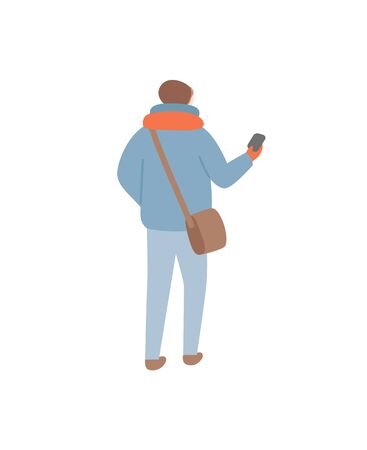 Person wearing warm clothes during wintertime vector. Man walking with sack on shoulder holding waller or phone in case. Winter seasonal clothing Illusztráció