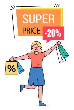 Super price vector, banner with text and discount percentage. Happy shopper with bought items from shops. Lady using discounts at stores buying items on special offer. 20 Percent off reduction