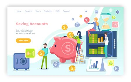 Saving accounts vector, strongbox with sum currency and cash American dollars in box, pig with gold coins and people investing capital assets. Website or webpage template, landing page flat style