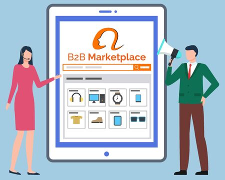 B2B Marketplace, tablet computer with online store website. Catalogue with clothes and household appliances.