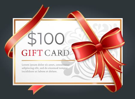 One hundred dollars gift card on black background. Template of paper discount with text tied with ribbon and bow.