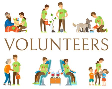 Volunteering people vector, man and woman helping environment and kids, orphans with gifts, older woman and homeless person, blood donation, pet care Иллюстрация
