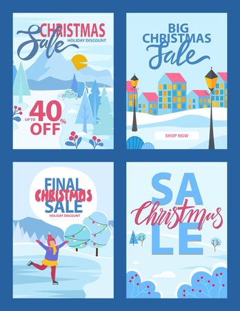 Christmas sale holiday discount 40 percent, Xmas promotion and shop now webpage or card. Illustration