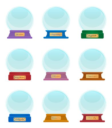 Holiday souvenirs with captions, hello winter and let it snow, snowy day and holly jolly. Transparent spheres isolated on white. Empty snowglobe made of glass. Xmas round shaped toy, vector Ilustração