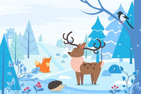 Deer and hedgehog, fox and bullfinch sitting on branch in winter forest. Landscape of woodlands with trees and bushes with berries. Reindeer at field with animals. Wintertime print vector in flat