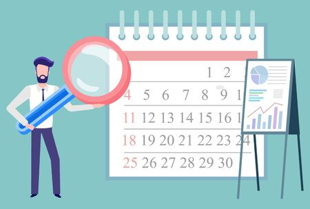 Businessman with magnifying glass vector, isolated male with tool for research. Calendar with dates and events, time management and whiteboard charts