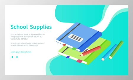 Supplies for lessons, vector illustration. Collection of school supplies or stationery.