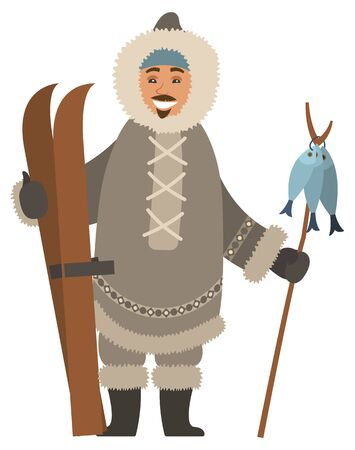 Smiling eskimo man wearing warm fur clothes and mittens holding skis and wooden stick with fish.