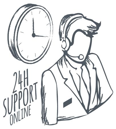 Online hotline for customers. 24 hours support and help isolated consultant monochrome sketch outline.