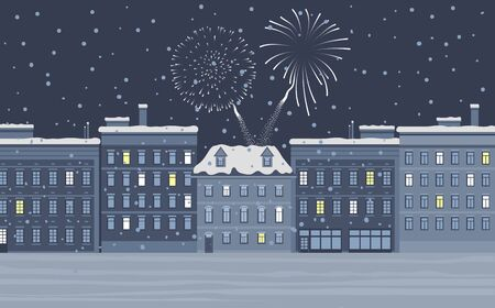 Celebration of winter holidays in city. Grey buildings at night with bright firework at sky among stars. Cityscape and modern architecture combined with festive mood on holidays and festive vector