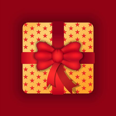 Present in box vector, isolated icon of container decorated with red bow stripe. Gift in wrapping paper with stars pattern. Festive traditions on birthday or Christmas. Celebration of holidays Ilustrace