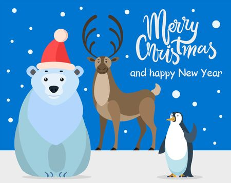 Polar white bear, emperor penguin and north reindeer, cartoon characters. Merry christmas greeting card. Preparing for winter holidays. Ilustração
