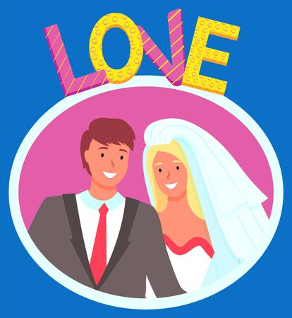 Bride and groom vector, isolated man and woman smiling on photo flat style characters on special day. Boyfriend and girlfriend wearing costume and veil, celebration of wedding. Photozone balloons Ilustracja
