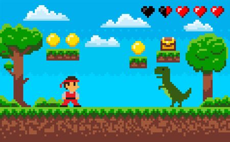 Duel of ninja and dragon characters on ground, green trees and grass, steps with coins and box, heart icon, screen of pixel game, adventure and war vector Illustration