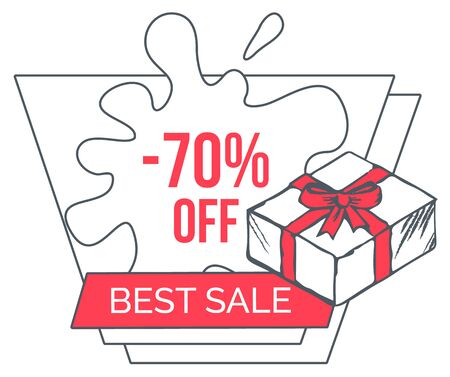 Best sale with big discounts. Up to 70 percent off price, good offer in shop. Promotion poster for people to buy gifts and presents. Box tied with red ribbon and bow. Vector illustration in flat style Illustration