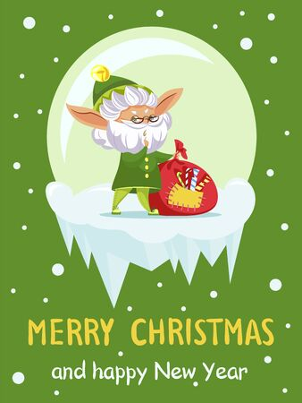 Christmas greeting card with old elf and gifts sack, Santa helper and candies. New Year wishes and fantastic dwarf with grey beard and presents bag. Winter fairy tale character vector illustration Ilustração