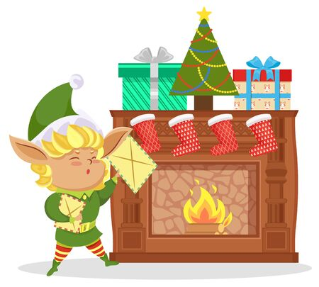 Elf near fireplace, christmas eve. Fairy character stand in living room and hold letter with xmas wishes. Boxes, red socks with gifts and decoration fir tree on hearth. Vector illustration in flat