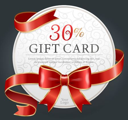 30 percent discount gift card on black background. Template of paper round voucher with text tied with red ribbons and bow. Present certificate for shopping. Vector illustration in flat style Illusztráció