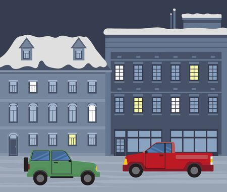 Winter city at nighttime, cars andvehicles of citizens at street of town. Snowfall in urban area. Building in row with lit windows. Automobile on read at night. Cityscape of wintertime vector in flat