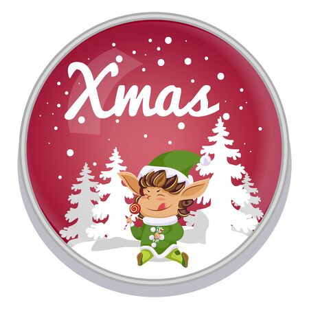 Xmas greeting postcard in round shape decorated by snowflakes. Elf cartoon character eating candy in snowy forest. Foto de archivo - 134745389