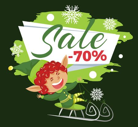 Promotional banner with elf. 70 percent sale proposition from store. Smiling xmas character riding sleigh. Laughing leprechaun.