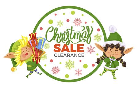 Christmas sale and clearance, designed caption. Two elves preparing presents for kids. Fairy character with lot of boxes with gifts in hands, santa claus assistants. Vector illustration in flat style