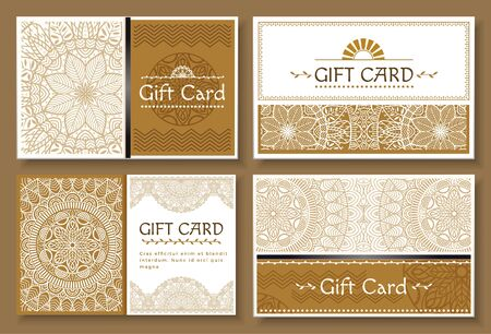 Gift cards for holidays celebration and greeting with special occasions. Set of minimalist banners with ornaments.