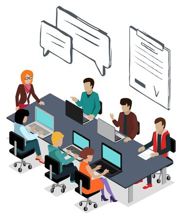People thinking on new project. Isolated conference of business partners chatting and typing info on laptop. Leader of company with workers brainstorming. Man and woman with pc by tables vector