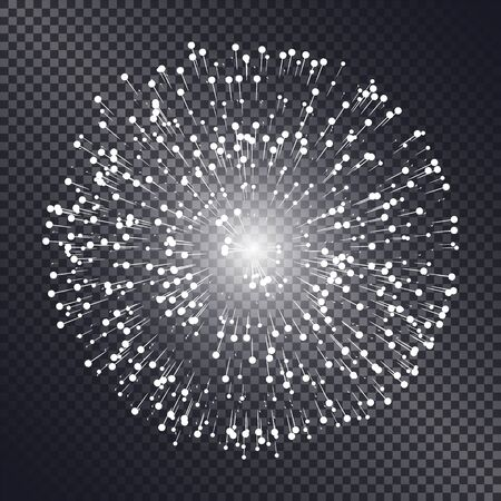 Firework sparkling with lights isolated on transparent background. Explosion for festival, festive moods. New Year celebration holidays. Bright and shiny decoration. Vector sparkle and glittering ray Illustration