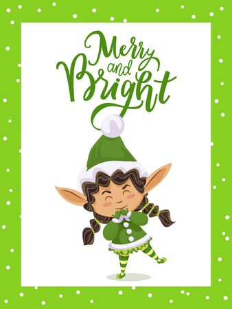 Merry and bright christmas and happy new year. Character in green costume greet people with holiday. Foto de archivo - 134745410