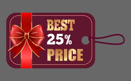 Gift card best price 25 percent off with red ribbon. Business advertising tag with special promotion decorated by bow symbol. Shopping coupon with discount in golden color, seasonal card vector Stock Illustratie