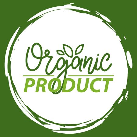 Fresh vegan food label, green poster natural and herbal product, 100 percent organic, healthy product, set of emblem, market sticker vector. Illustration