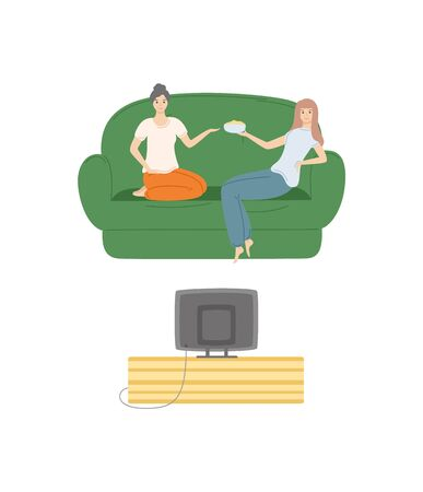 Friends at home watching movies vector, girls evening woman eating popcorn from bowl and looking at screen of television, female on comfortable sofa