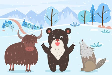 Characters animals in winter forest. Howling wolf and roaring bear, bull with furry coat. 일러스트