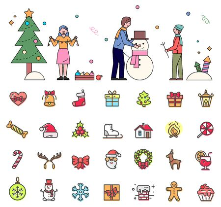 Wintertime and christmas preparation vector, isolated set of icons in flat style. Dad and son sculpting snowman. Illustration