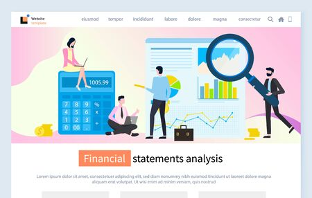 Financial statement analysis vector, people in office with magnifying glass calculator for statistics, business solution calculating data charts. Website or webpage template, landing page flat style