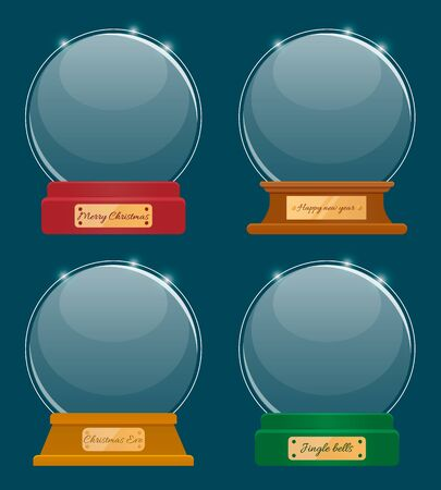 Holiday souvenirs with captions, hello winter and let it snow, snowy day and holly jolly. Four transparent spheres isolated on white. Empty snowglobe made of glass. Xmas round shaped toy, vector