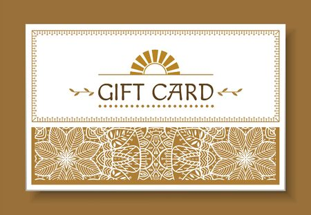 Festive gift card with mandala isolated on brown. Greeting postcard with repeated decorative design, geometric waves on paper. Illustration