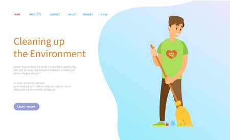Cleaning up the environment, man activist holding broom and sweeping trash, portrait view of volunteer male with besom, person scavenging vector. Website or slider app, landing page flat style