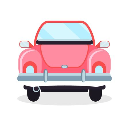 Retro car, back view of old vehicle, pink cabriolet in flat design style, wheels and motor, light and glass, side mirrors, old-fashion automobile vector Banque d'images - 134745321