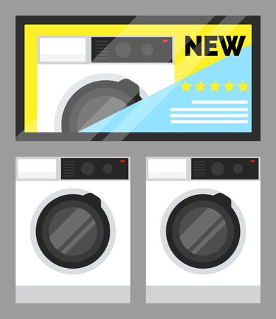 Electronic appliances in a row. Washing machine and dryer in shop of electronics. Ilustração
