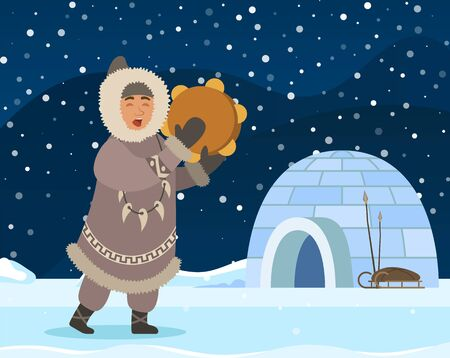 Eskimo man stand near shelter igloo. Indigenous north person in warm clothes like coat, gloves and boots. Arctic guy doing traditional rite with drum sound. Vector illustration, beautiful landscape